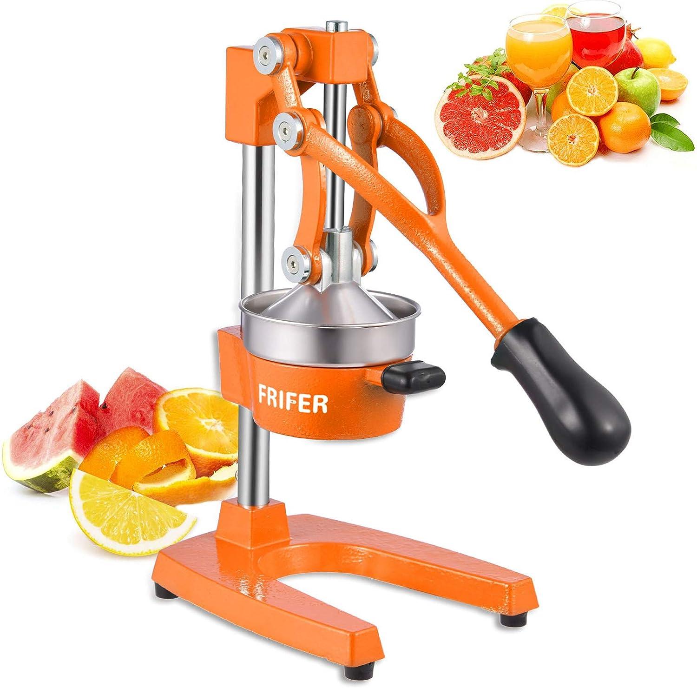 FRIFER Citrus Manual Juicer, Commercial Orange Juice Machine, Professional Fruit Hand Press Squeezer, Lemon Lime Pomegranate Fruit Extracter (Manual Juicers, Orange)