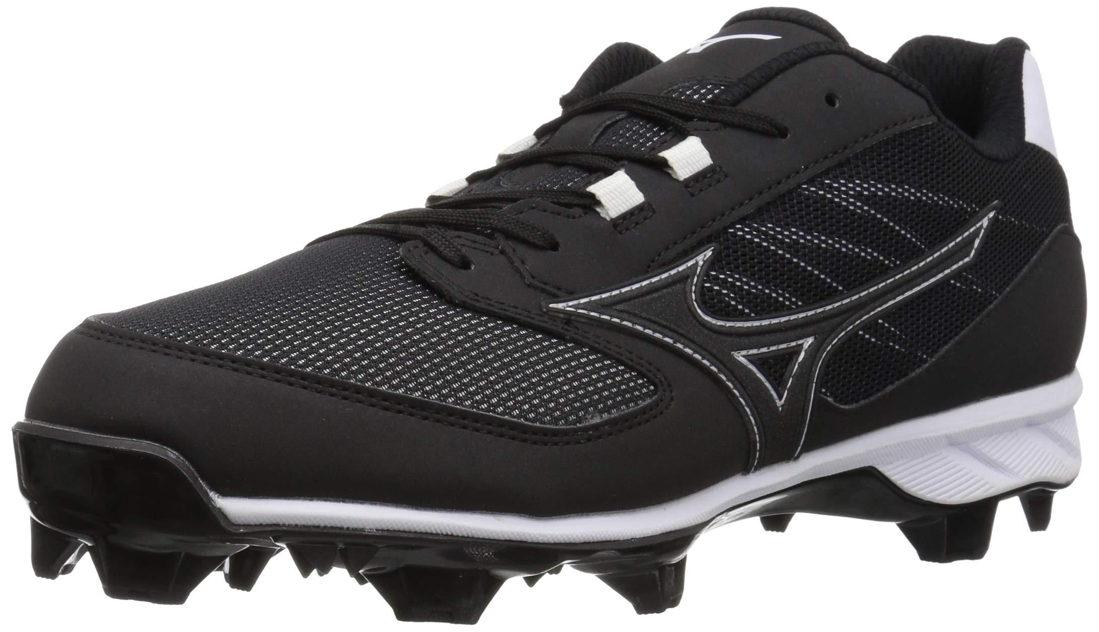 Mizuno Men's 9-Spike Advanced Dominant TPU Molded Baseball Cleat Shoe, Black/White, 6 D US