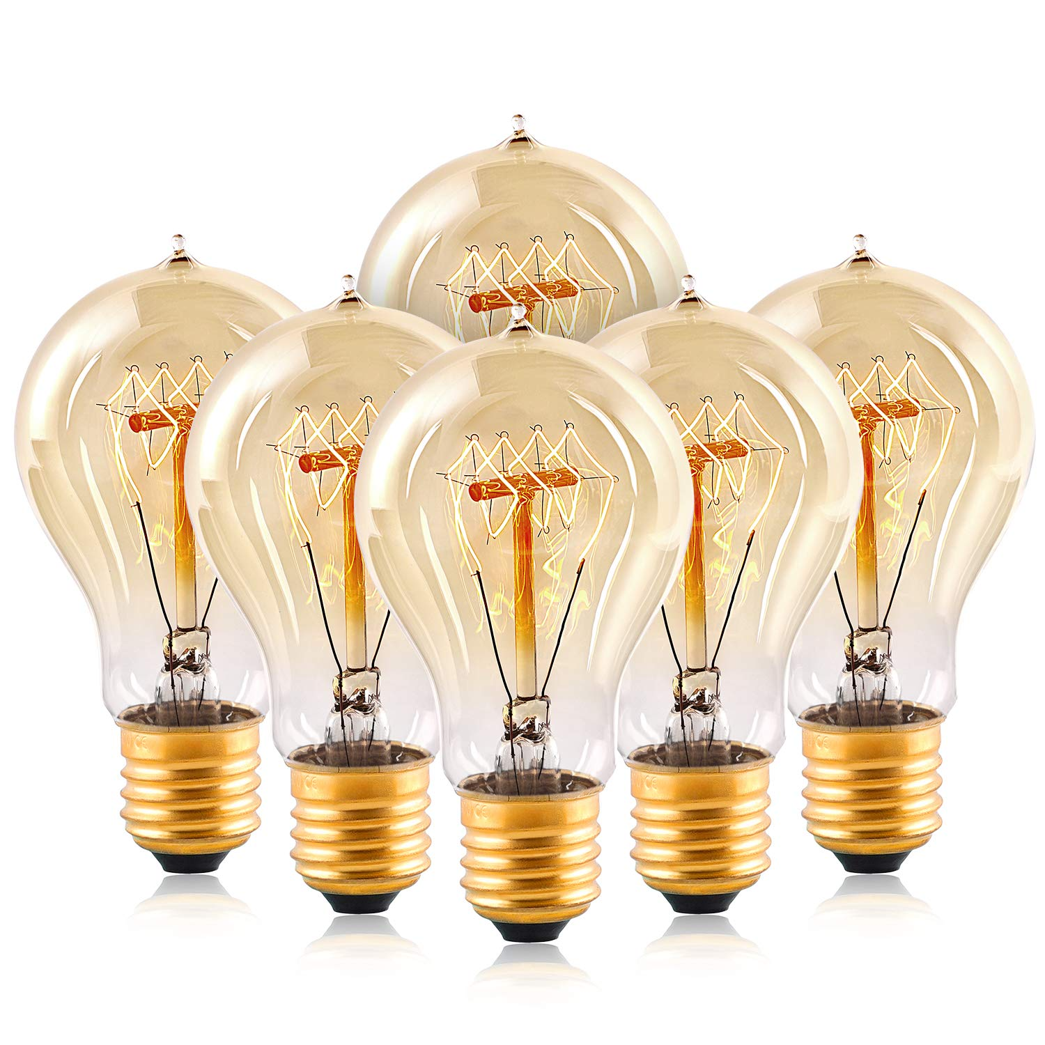 Edison Light Bulbs,HESSION A19 40w Vintage Antique Tungsten Filament Bulbs,E26 Base Edison Bulbs, Decorative Light Bulb Dimmable 110V Amber Glass(6 Pack) by HESSION (Image #1)