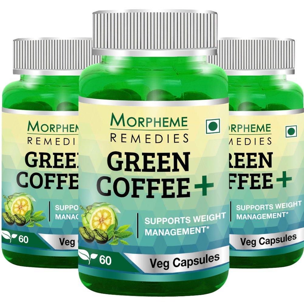 Morpheme Green Coffee+ (Garcinia + Green Coffee + Green Tea) 60 Veg Caps - 3 Bottles