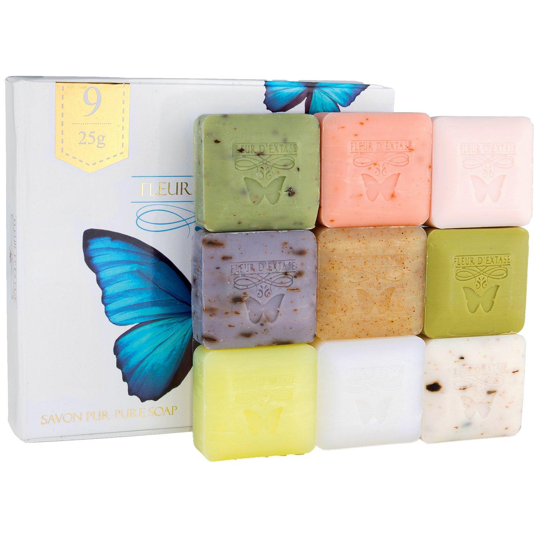 Fleur D' Extase (Ecstacy) Soap 25 Gram Bars Of Guest Soaps - All Natural (Gift Set of 9 Soaps): Beauty