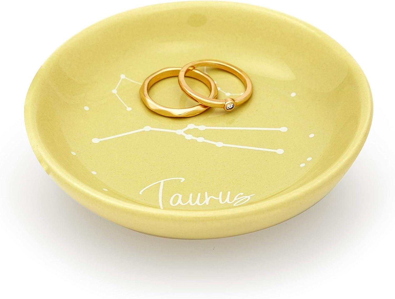 Ceramic Jewelry Tray 3.5 Inches, Khaki Taurus Zodiac Sign Trinket Tray