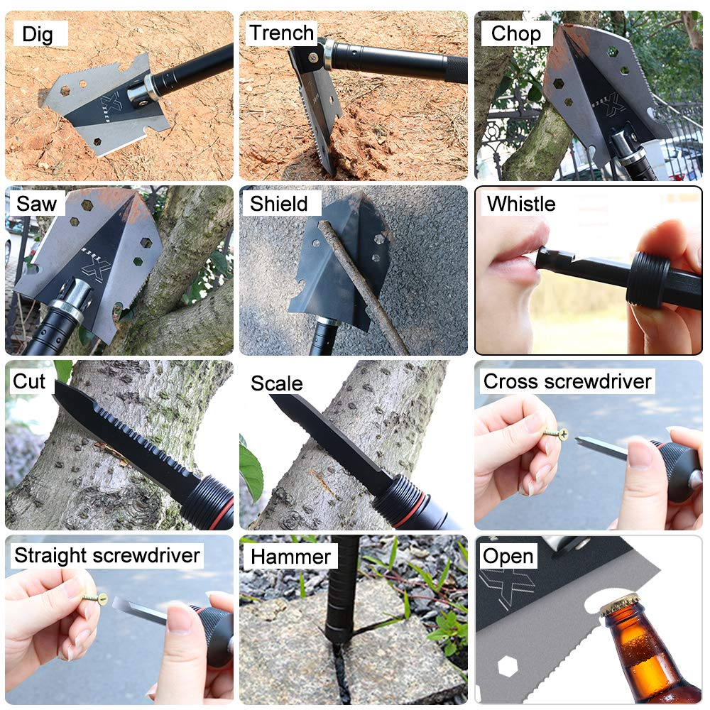 Multi-purpose Outdoor Emergency Tool Kit for Car and Snow Removal Chinese Military Tactical Shovel Army Surplus Survival Gear Xben Folding Camp Shovel
