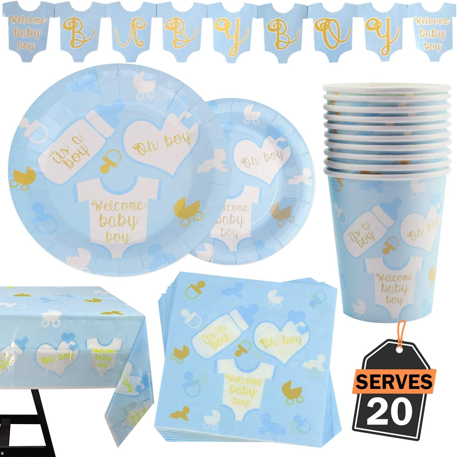 Table Napkins Serves 20 82 Piece Baby Boy Shower Party Supplies Set Including Plates Tablecloth and Banner Cups