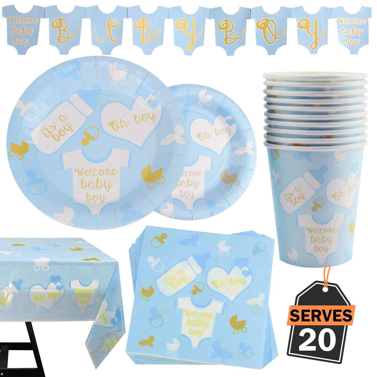 82 Piece Baby Boy Shower Party Supplies Set Including Plates, Cups, Table Napkins, Tablecloth and Banner, Serves 20 by Scale Rank