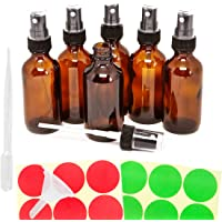 6pack 30ml 1oz Empty Amber Glass Spray Bottles, Refillable Containers for Essential Oil, Perfume Liquids, Aromatherapy, with Black Fine Mist Sprayer, Extra 3ml Dropper, Mini Funnel, 12 Piece Labels