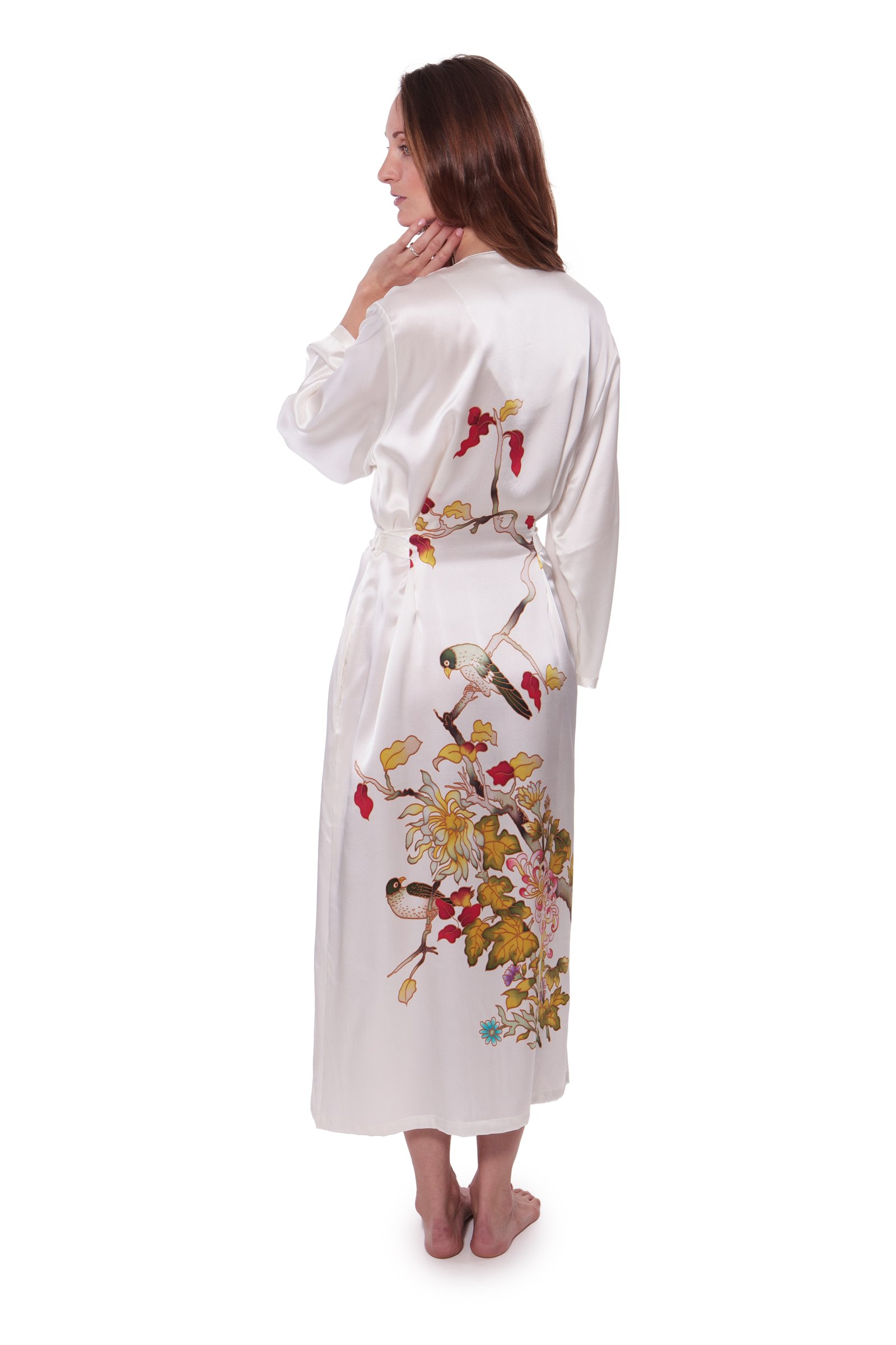 TexereSilk Women's Hand Painted Silk Robe (Natural White, Large/X-Large) Luxury Gifts for Women WS0103-NWH-LXL