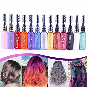 Amazon.com: Plovex 13 Colors One-off Hair Color Dye Temporary Non ...