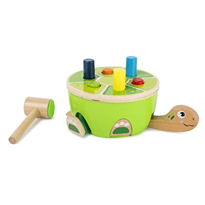 Small Foot Wooden Turtle Hammering Game - Toy Designed for Kids, Ages 18 Month & Up: Toys & Games