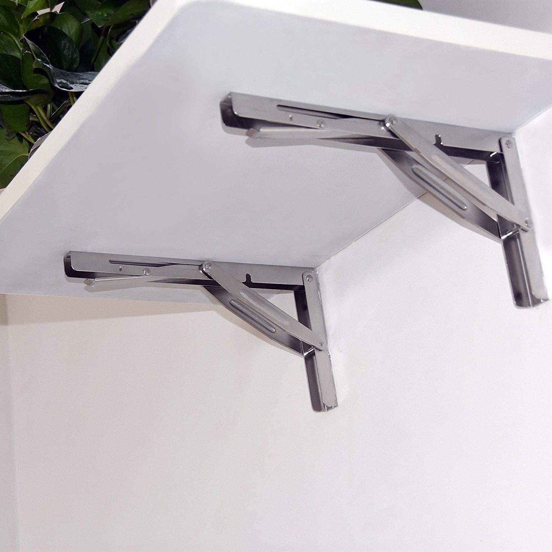 Hoffen 2 Pieces Stainless Steel Folding Shelf Bench Table Bracket 550lb/250kg Load Long Release Arm Wall-Mounted Heavy Duty