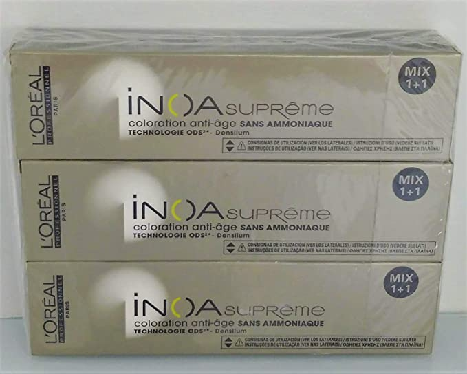 Pack 3x60ml tintes Inoa Supreme LOréal nº6,23 cedro insólito ...