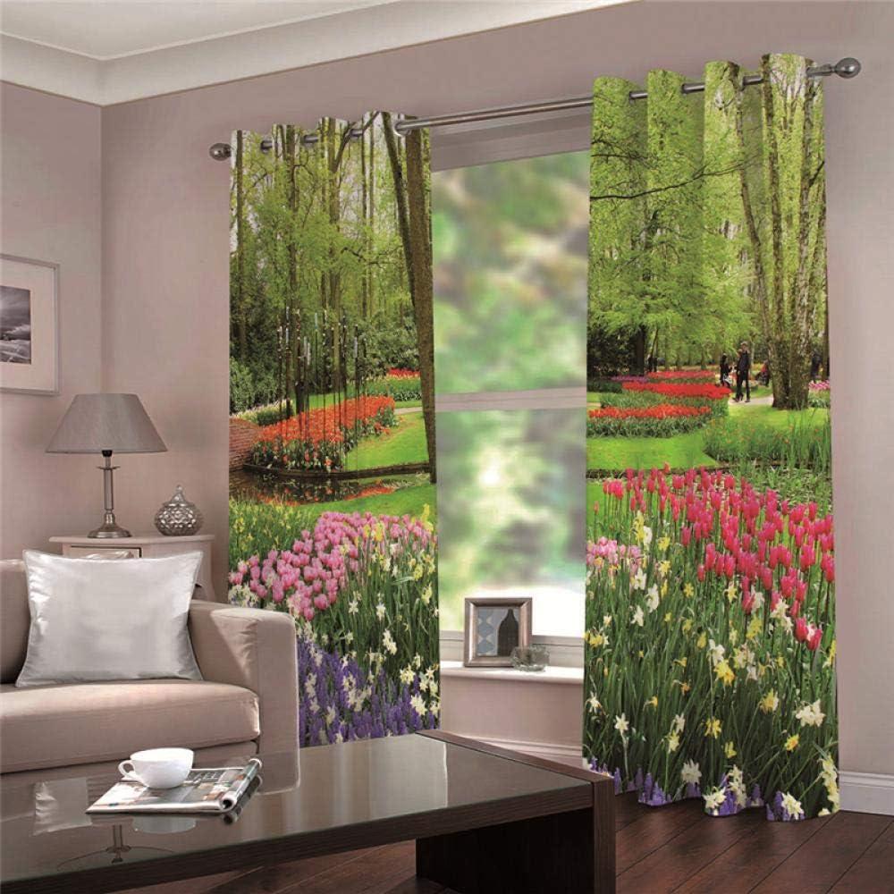 QHJIAFANG Cortinas Flores de paisajes Rurales habitación Cortinas Dormitorio Salón Ojal Cortina/2x117x229cm(An x Al)