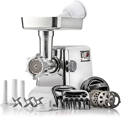 The Powerful STX Turboforce Classic 3000 Series Electric Meat Grinder & Sausage Stuffer: 4 Grinding Plates, 3 - S/S Blades, Sausage Tubes & Kubbe Maker. 2 Free Meat Claws & 3 in 1 Burger-Slider Maker!