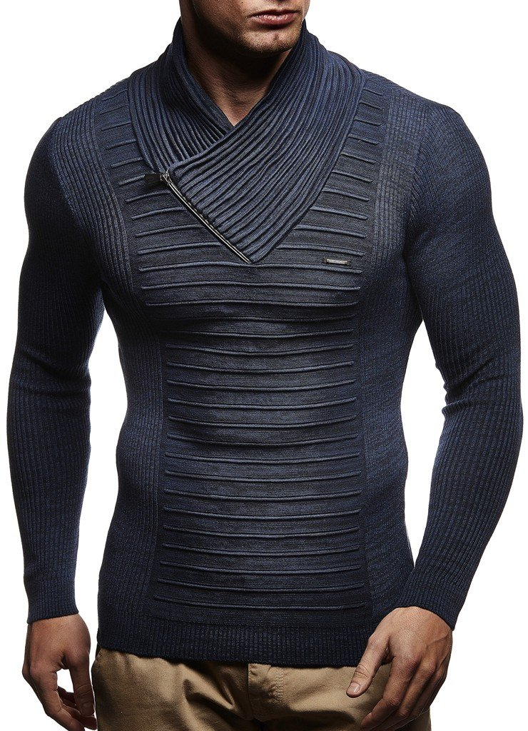 Leif Nelson LN1535 Men's Knitted Turtleneck Pullover with Zipper Accent; Size XX-Large, Blue