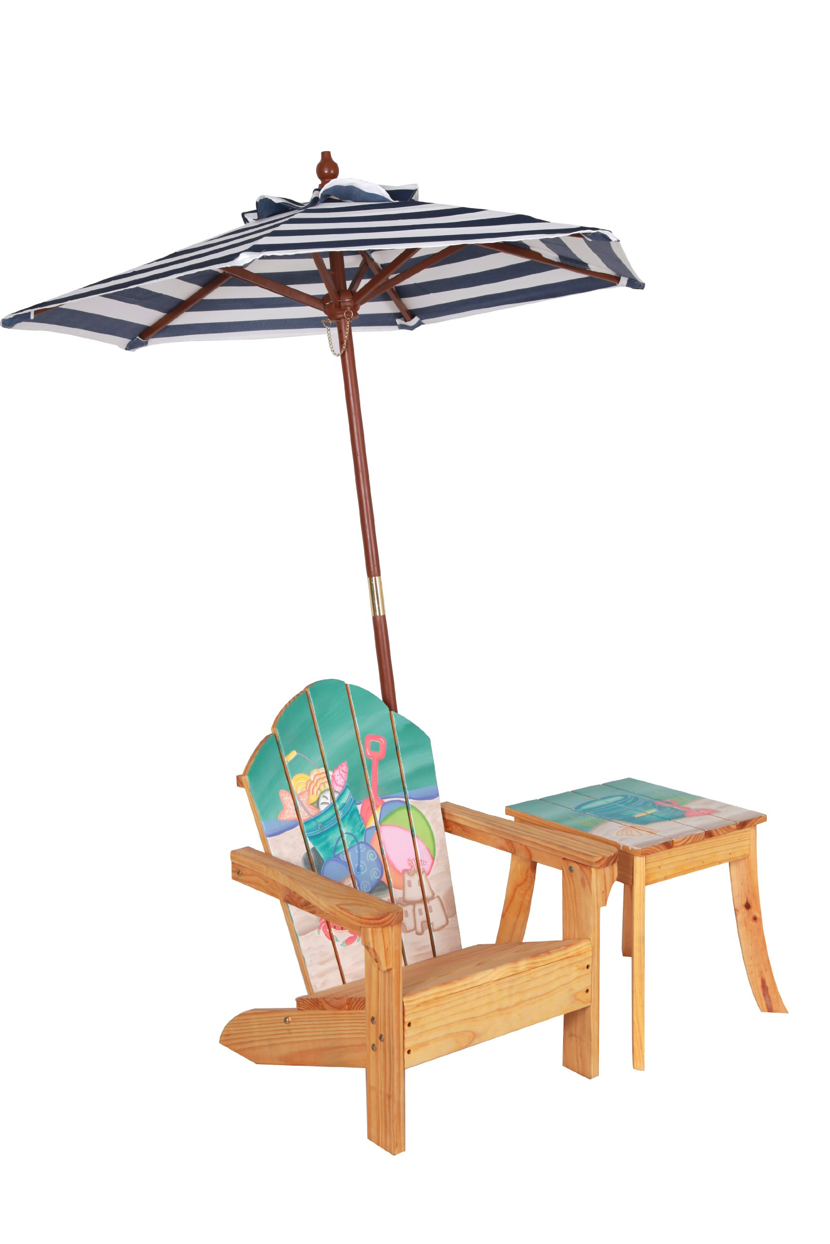 Teamson Design Corp Winland - Outdoor Table and Adirondack Chair Set with Unbrella - Beach Summer