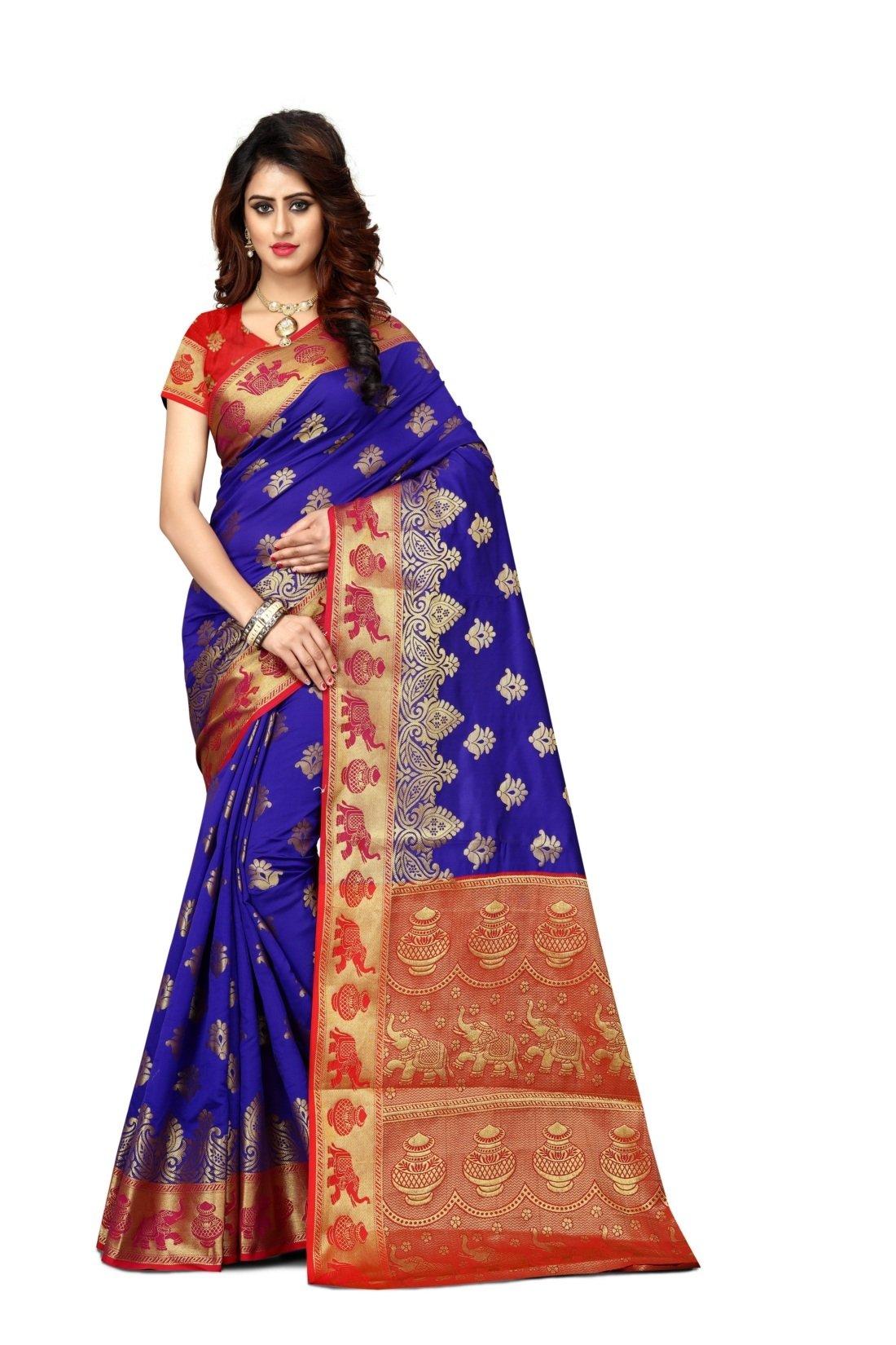 Sarees Women's Jasmin Banarasi Art Silk Woven Work Saree l Indian Wedding Ethnic Sari & Blouse Piece (Blue)