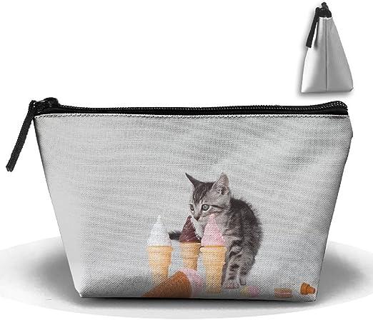 RobotDayUpUP 3d gatos y helado crema para mujer bolsa de viaje neceser Portátil de almacenamiento de escobilla de aseo Estuche Estuche Estuche Estuche de Lápices Accesorios Costura Kit Bolsa de Maquillaje: Amazon.es: