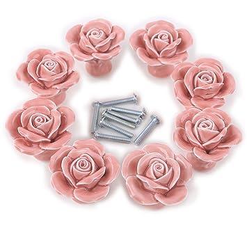 8PCS White/Pink Ceramic Vintage Floral Rose Door Knobs Handle Drawer ...
