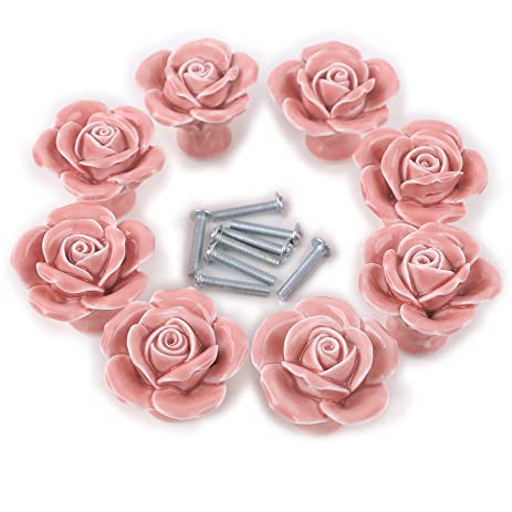 8PCS White/Pink Ceramic Vintage Floral Rose Door Knobs Handle ...