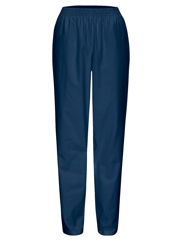 DESERMO Schwesternhose Schlupfhose mit Gummibund aus Reiner Baumwolle rein Weisse oder Blaue Pflegerhose I Bequeme Medi Hose