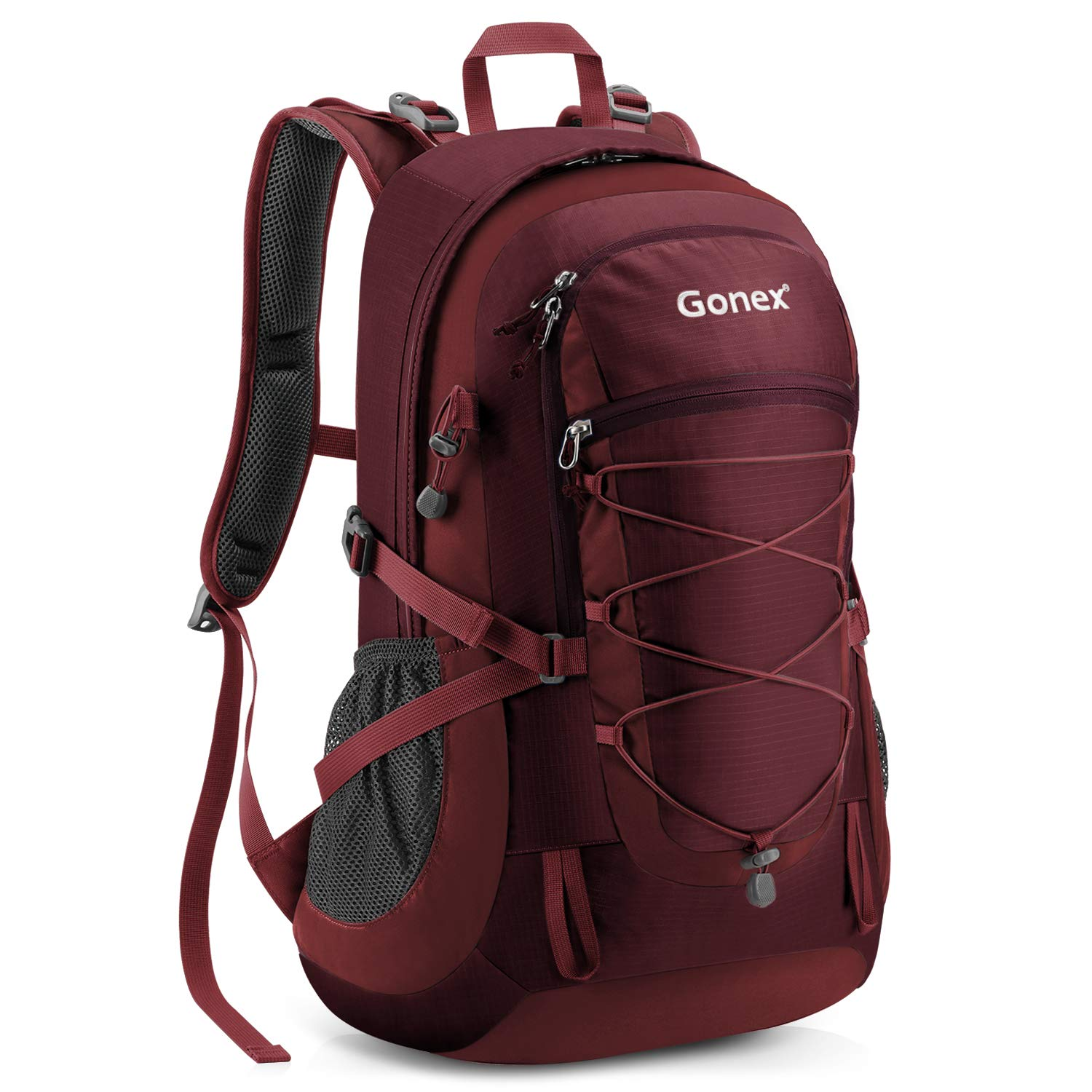 Gonex Updated 35L Hiking Backpack, Camping Outdoor Trekking Daypack, Waterproof and Backpack Cover Included (Garnet Red)