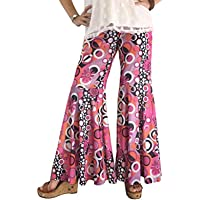 Gotta Have Fun Groovy 60's Hippie Bell Bottom Flared Costume Pants for Women Pink Purple