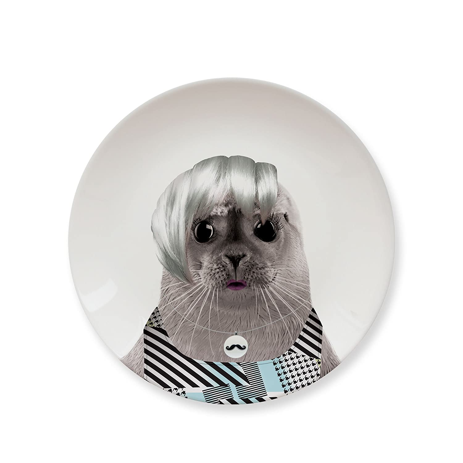 MUSTARD - Wild Dining Cat Dinner Plate I Funny Dinner Plate I 100% Ceramic I 9-inch Plate I Ceramic Dinner Plate I Special Plate I Funny Plate with Goofy Pet Print I Gift Idea for Students - Cool Cat 5055998804517