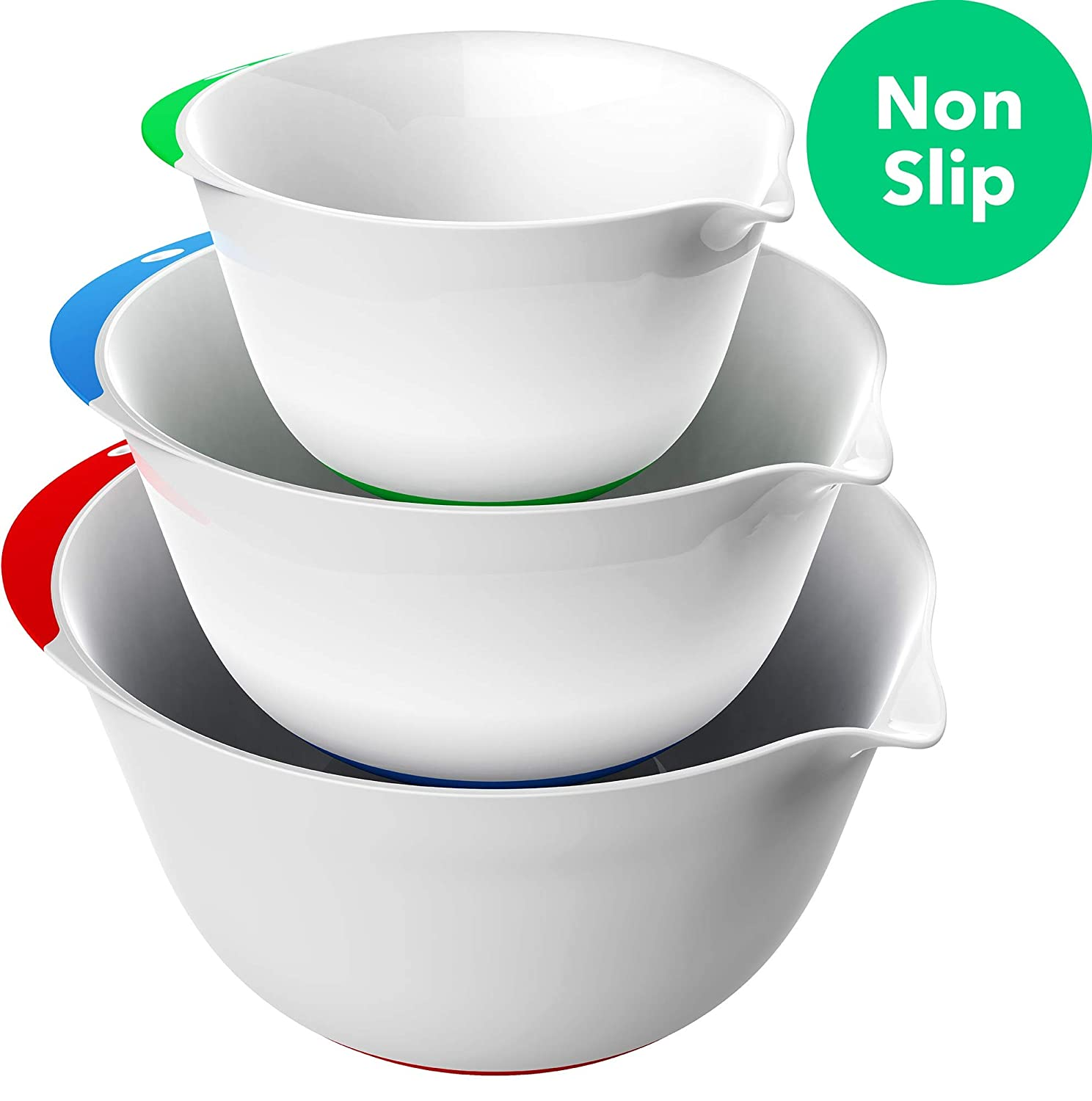 Vremi 3 Piece Plastic Mixing Bowl Set - Nesting Mixing Bowls with Rubber Grip Handles Easy Pour Spout and Non Slip Bottom - Three Sizes Small Large Capacity for Kitchen Baking or Salad - White Multi