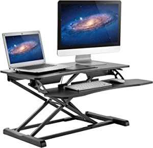 "HUANUO Standing Desk Height Adjustable - Sit to Stand Up Desk Converter Gas Spring Riser with Keyboard Tray and Grommet Mounting Hole For Monitor Stand, LIFT Workstation Desktop From 4.2"" to 20.1"""