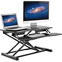 HUANUO Standing Desk Height Adjustable - Sit to Stand Up Desk Converter Gas Spring Riser with Keyboard Tray and Grommet…
