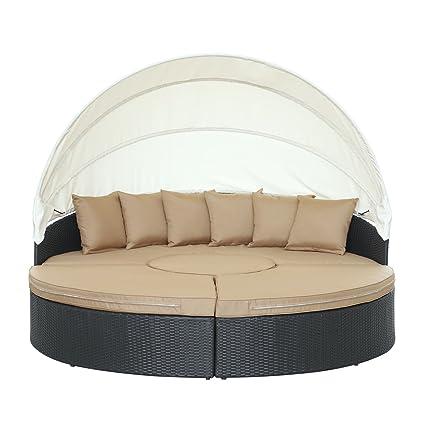 amazon com modway quest circular outdoor wicker rattan patio rh amazon com Orange Outdoor Daybed with Canopy DIY Outdoor Daybed with Canopy