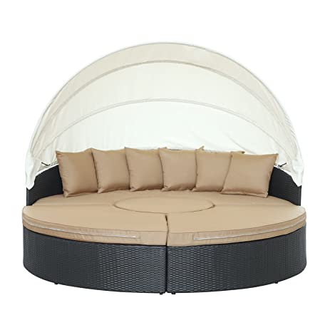 Modway Quest Circular Outdoor Wicker Rattan Patio Daybed with Canopy in Espresso Mocha  sc 1 st  Amazon.com & Amazon.com : Modway Quest Circular Outdoor Wicker Rattan Patio ...
