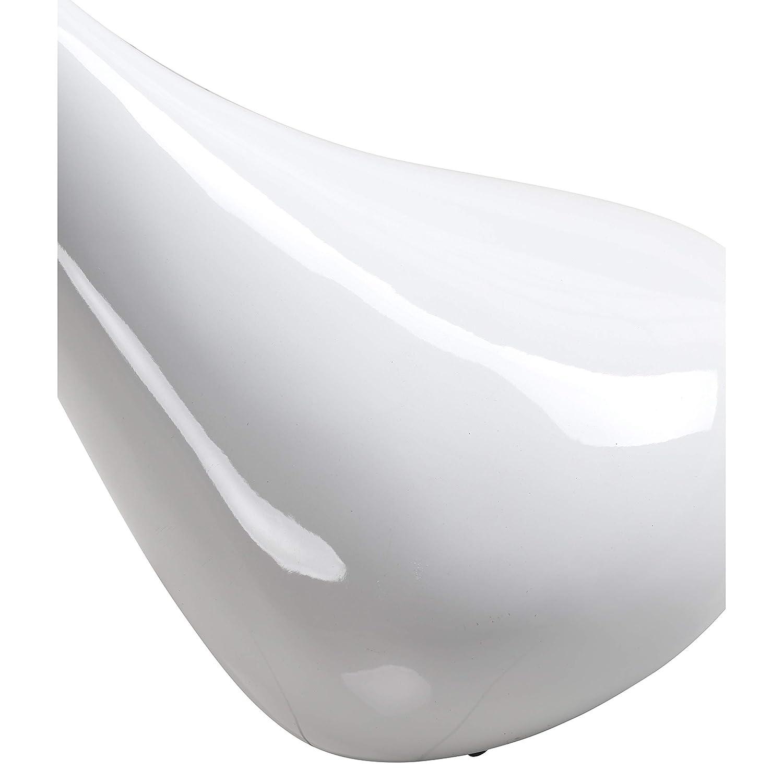 Blanche GOLDFAN Table Basse en Verre Haute Brillance Table dappoint avec Base Laqu/é Petite Table /à Th/é Design Scandinave,42x55cm,Ronde
