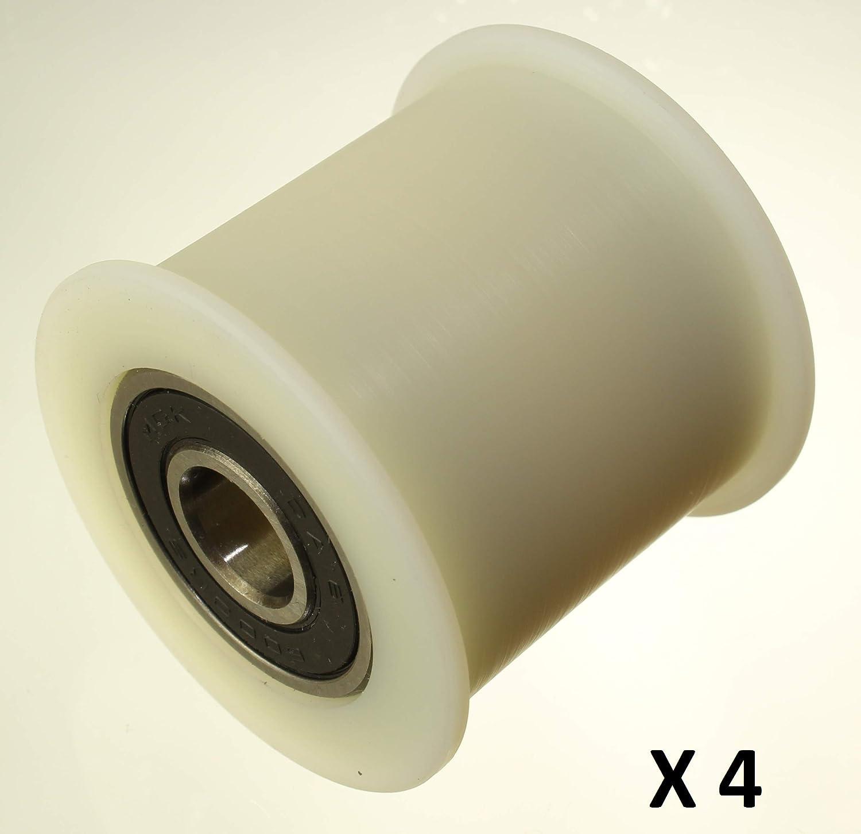 40/–32/–10 Lot de 4/x Enrouleur de ceinture en nylon 40/mm de diam/ètre 32/mm Groove Roulement 10/mm avec pr/écision usin/é dans lUnion europ/éenne