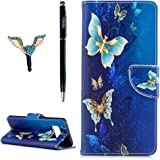 Galaxy Note 8 Case, YOKIRIN Card/Cash Slots Stand Featute Design Dual- Use Flip Pattern Premium PU Leather Fold Wallet Pouch Cover for Samsung Galaxy Note 8 with 3D Bling Dust Plug & Pen,Butterfly