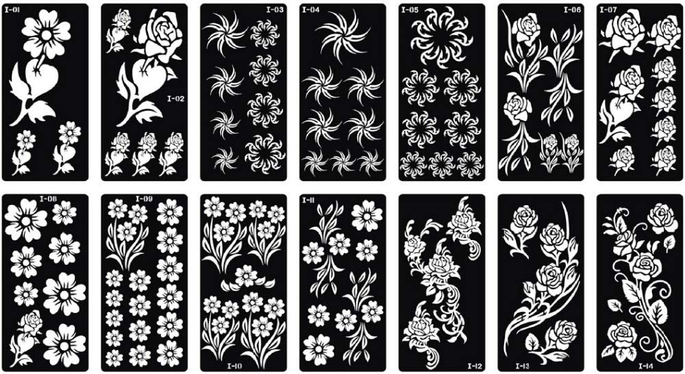 Henna Stencils 10pcs Tattoo Template Henna Painting Stencil Size 18.5x9.5cm Dedicated Multi Flower Models by Henna Stencils