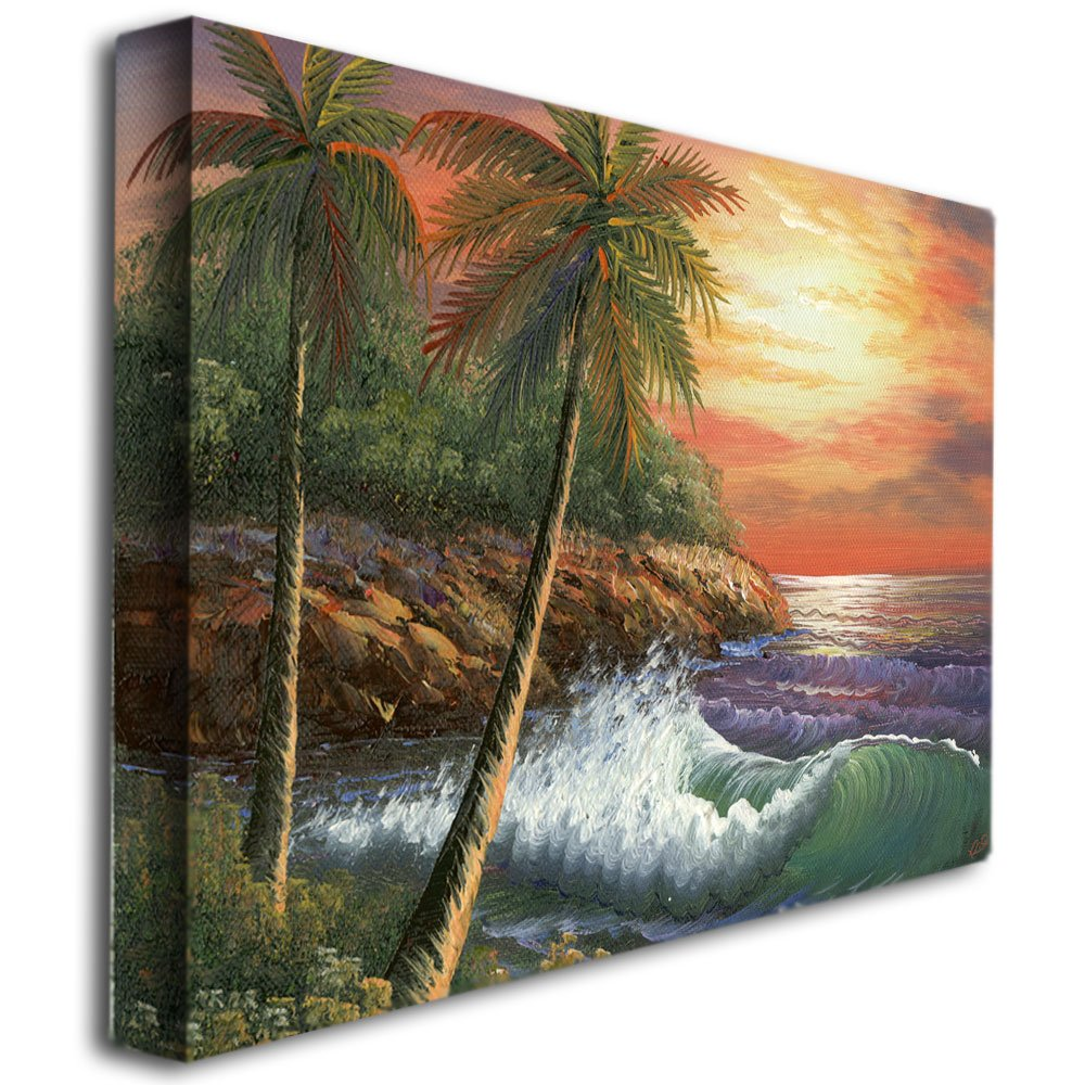 Maui Sunset by Master s Art, 24×32-Inch Canvas Wall Art