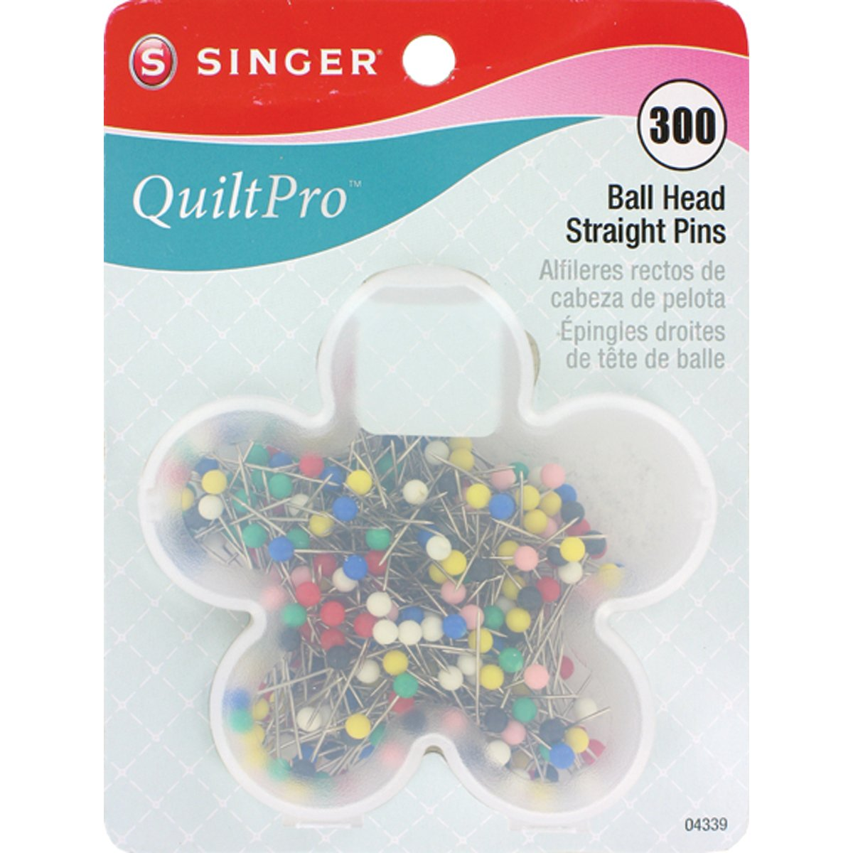 SINGER Ball Head Quilting Pins in Flower Case Dyno Merchandise 04337