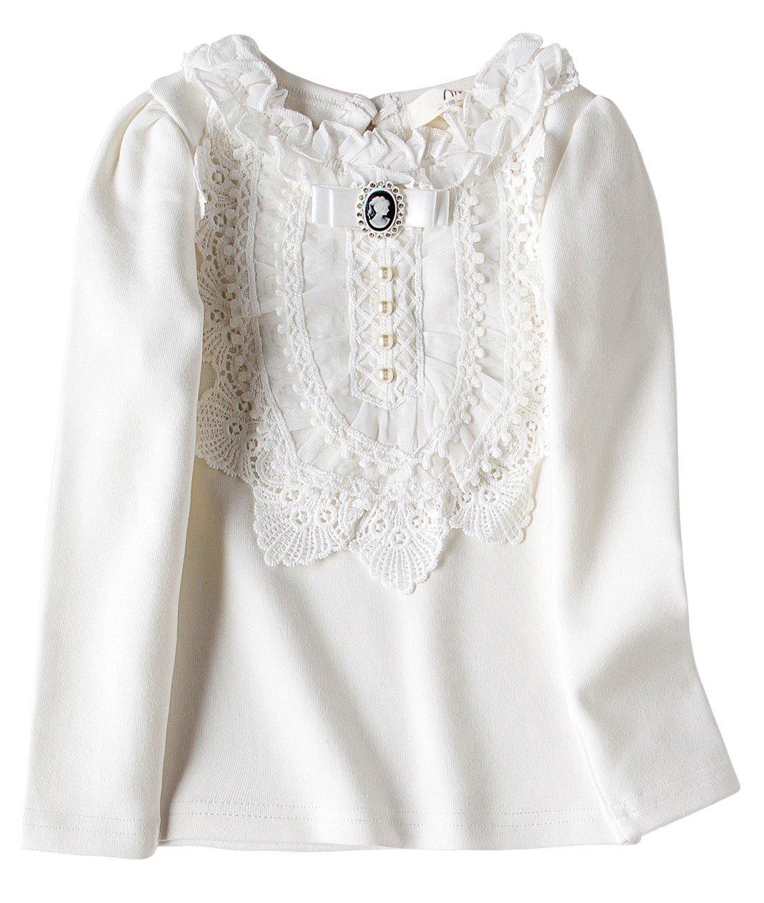 VYU Little Girls Long Sleeve Flower Blouse 2-8 Year Kids Autumn Cotton Lace Tops
