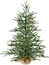 vickerman 36 carmel pine artificial christmas tree with cones and burlap base - Christmas Trees Artificial
