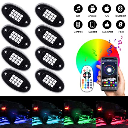 fb358cfd0af8e7 8Pcs RGB LED Rock Light Multicolor Neon LED Light Kit with Bluetooth  Wireless Remote Control for