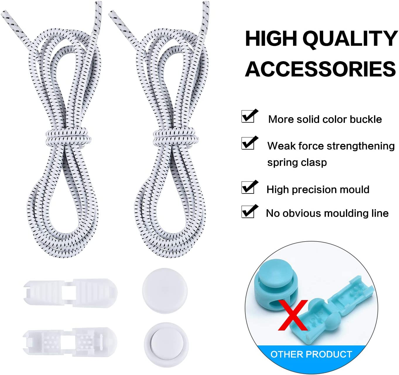 L LEIWEK Elastic Shoe Laces for Kids and Adults Adjustable Tieless Rubber Shoe Laces Strings for Sneakers Boots Board and Casual Shoes No tie Shoelaces with Lock Device