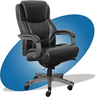 product image for La-Z-Boy Delano Big & Tall Executive Office Chair | High Back Ergonomic Lumbar Support, Bonded Leather, Black with Weathered Gray Wood |