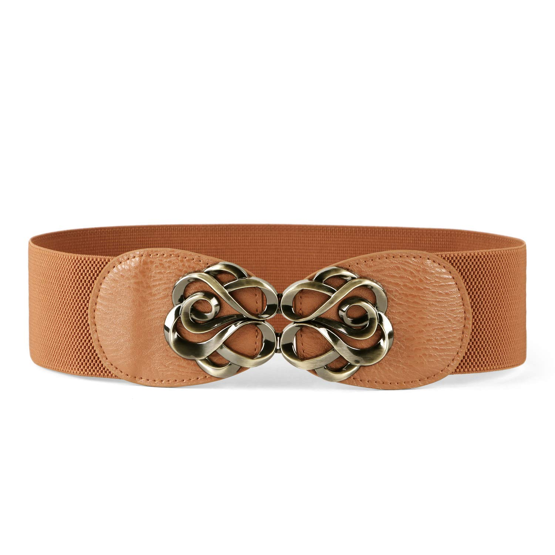 JASGOOD Women Stretchy Belt for Dresses Vintage Elastic Wide Waist Belt Suit for Waist Size 28-33 Inches 3-Beige