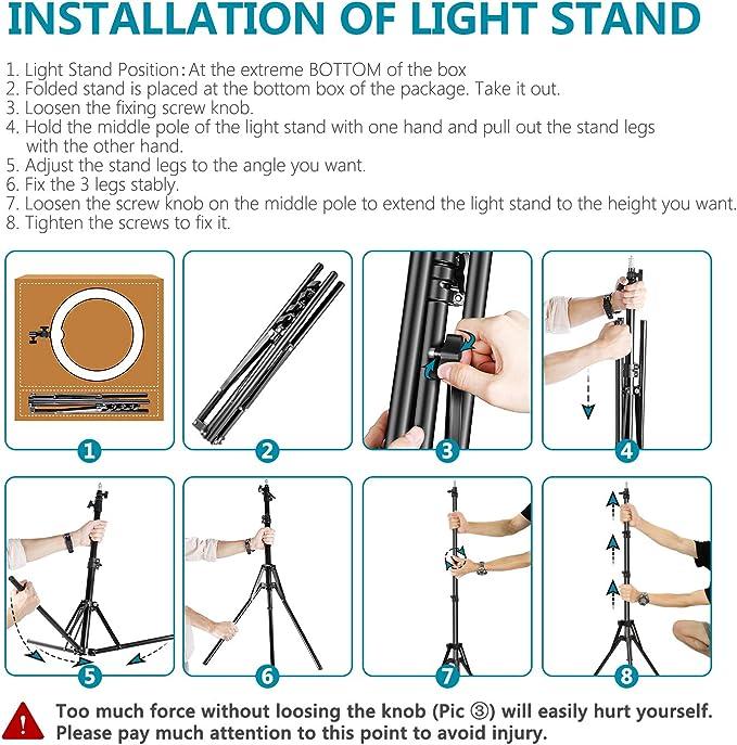 Neewer Anillo de Luz LED Regulable Iluminación Kit 48cm Exterior ...