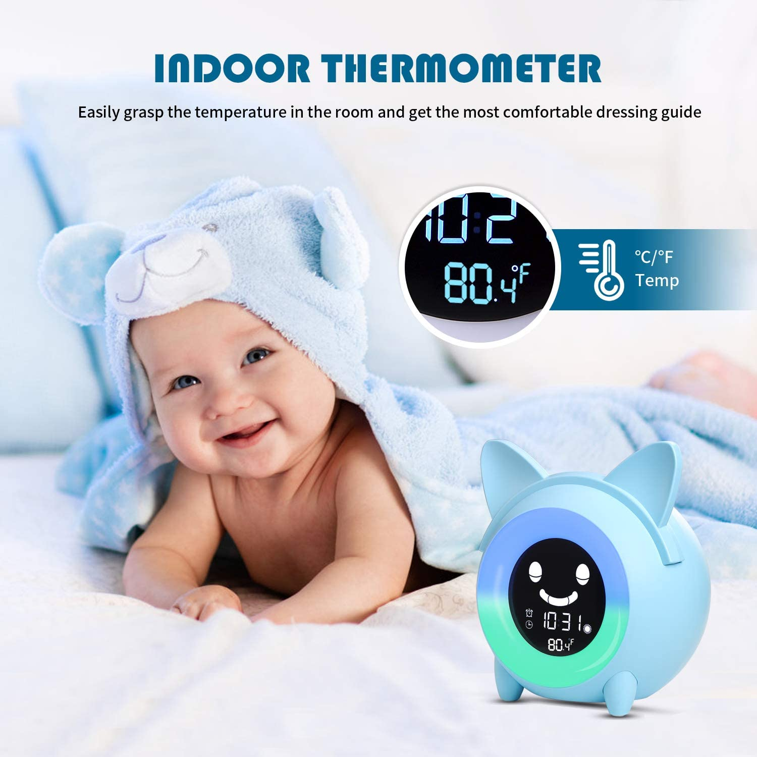 OK to Wake Clock for Bedroom Cute Digital Clock with Temperature 5 Colors Smart Night Light Clock Teaching Boys Girls When to Wake Up Childrens Sleep Trainer Kids Alarm Clock