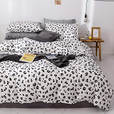 Twin Sleepymoon Cotton Duvet Cover Set 1 Duvet Cover + 2 Pillow Shams Printed Pattern with Zipper Closure Soft Breathable Brown and White 3pcs Bedding Set Leopard Print
