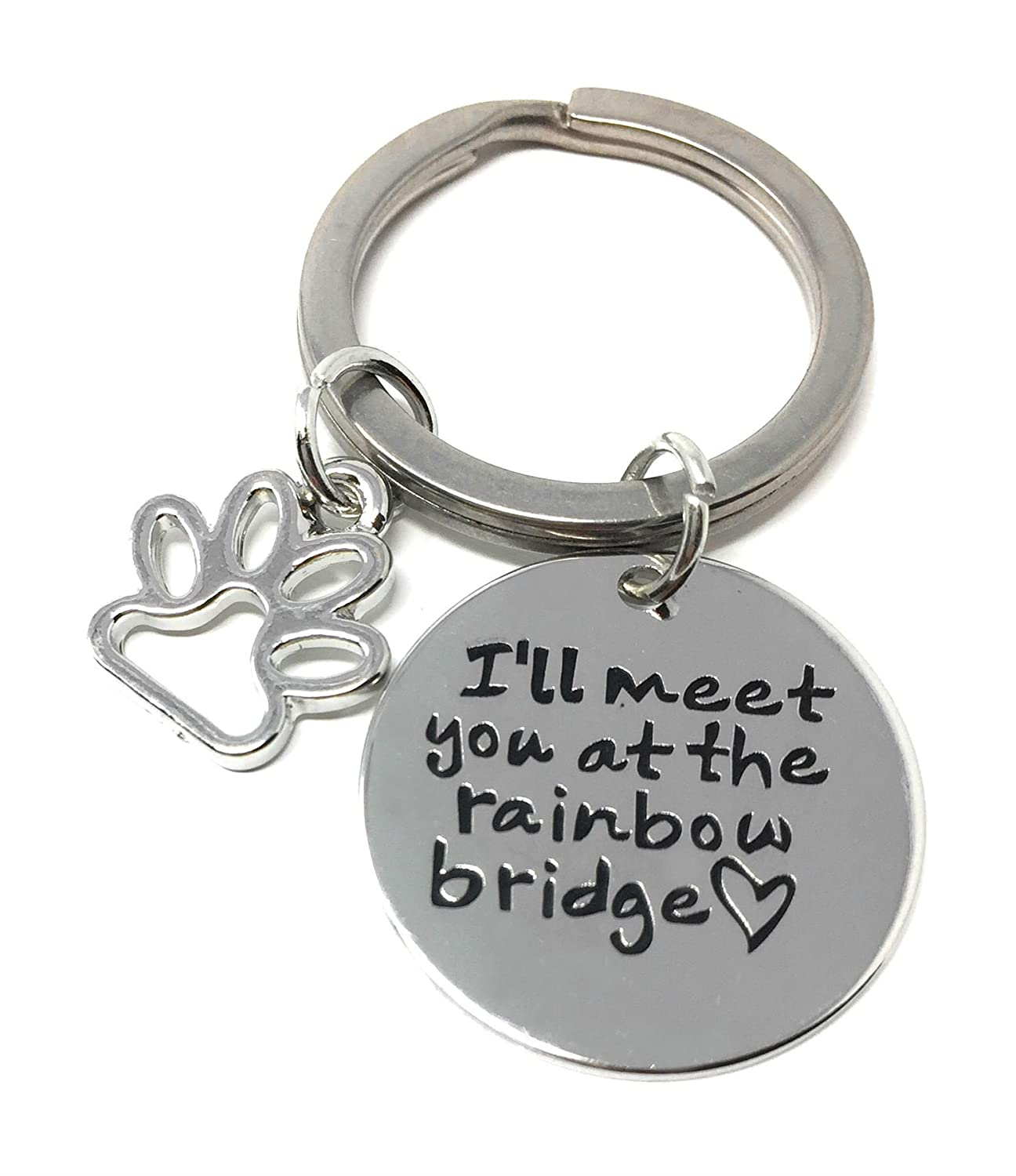 Cadoline Silver-Tone Ill Meet You At The Rainbow Bridge Engraved Pendant Keyring 2.2cm Diameter Dog