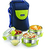 Magnus Lunch Box With Detachable Clip Lock, Leak Proof Containers & Bag, Stainless Steel, 3 Pcs Set