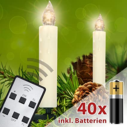 Christmas Candles.Homelux 40 Led Christmas Candles Christmas Tree Lights Incl Batteries Remote Control Clip On Warm White Flame Wireless Cream